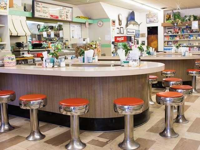 Marshall's Drug Store interior with old fashioned stools and soda counter